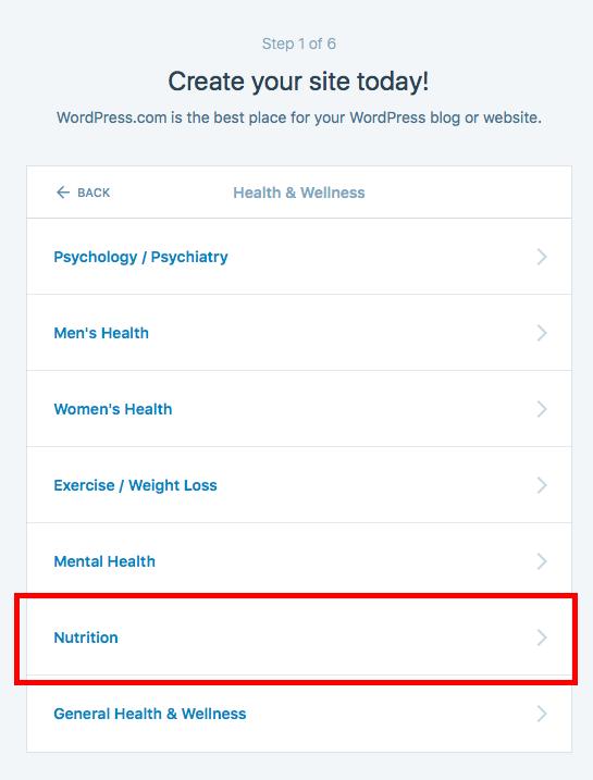 Nutrition website for free in wordpress
