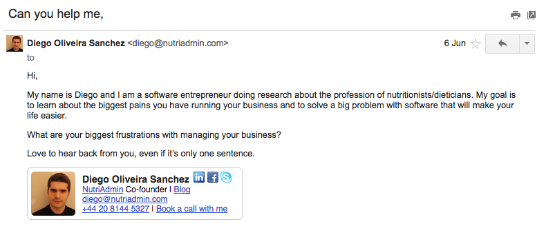 sample email for nutritionists
