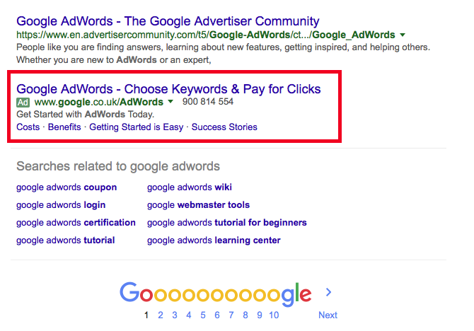 google adwords for nutritional therapists