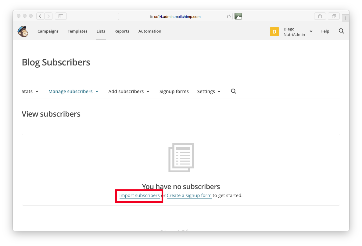 Importing subscribers