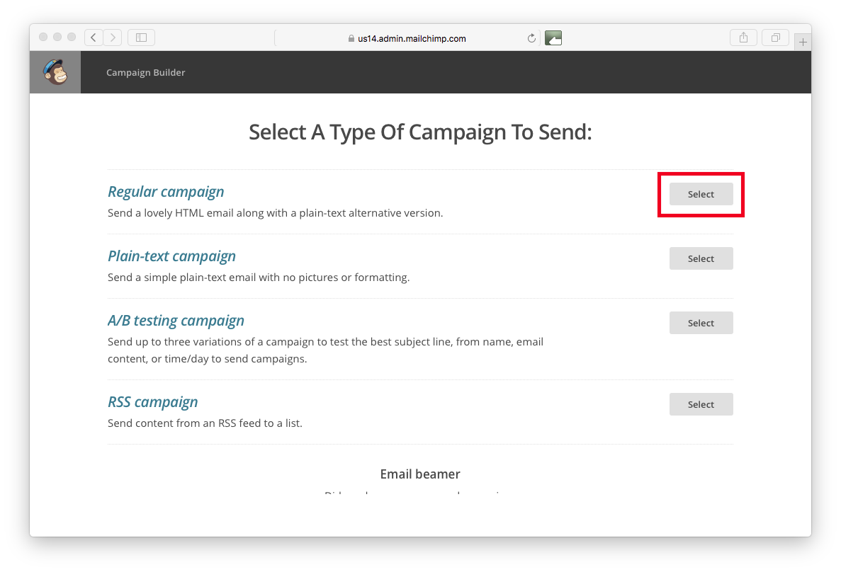 Choosing campaign type