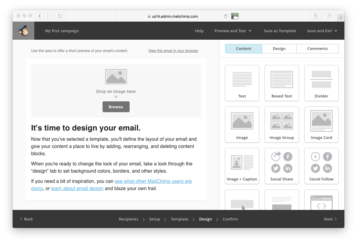 composing an email in mailchimp