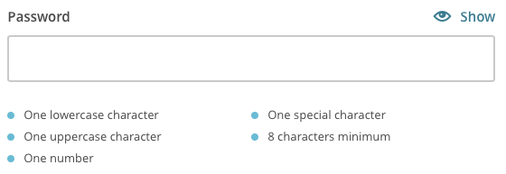 Mailchimp password requirements
