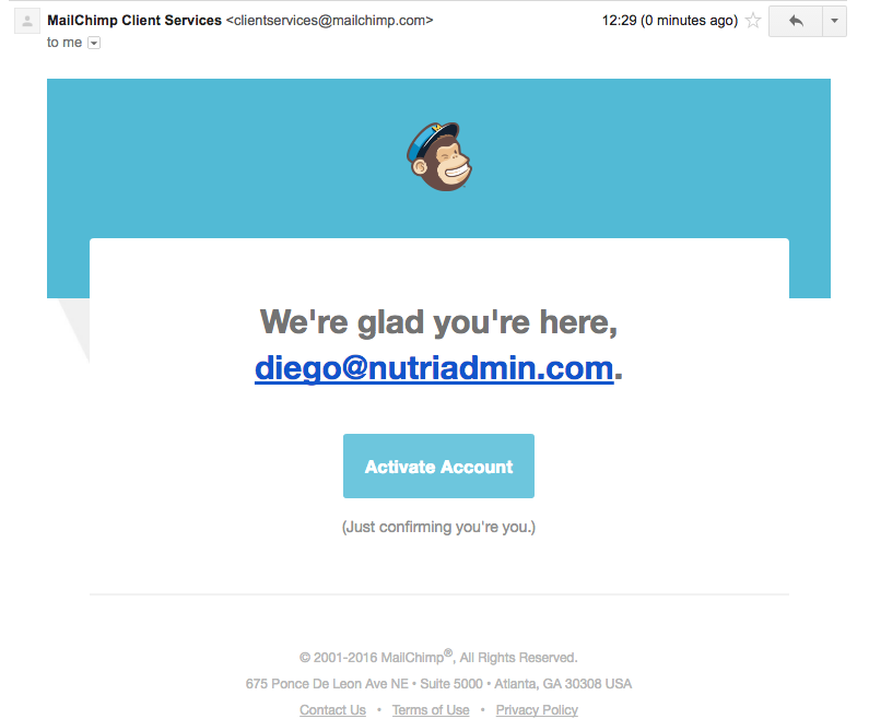 Activating Mailchimp account