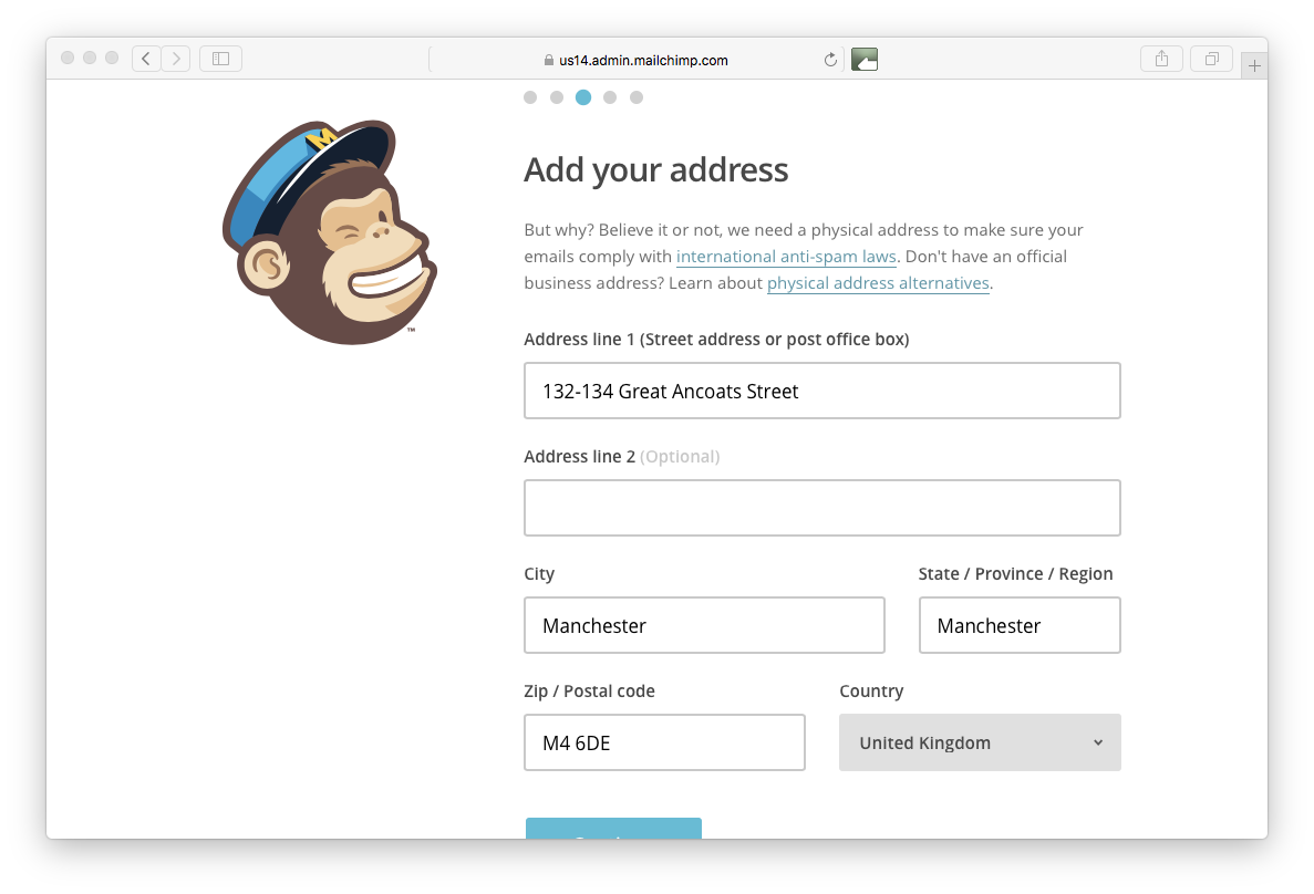 Mailchimp adding address